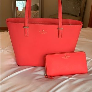 Hot pink Kate Spade purse and wallet combo